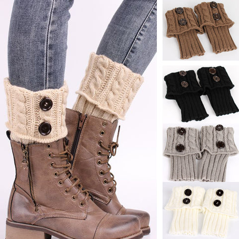 Knitted Shell Design Boot Cuffs Socks