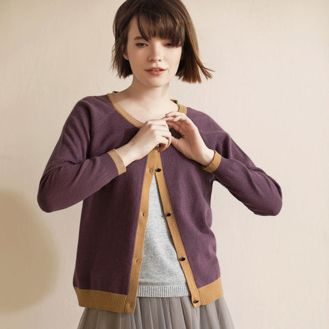 Women's Round Neck Short Slim Cardigan