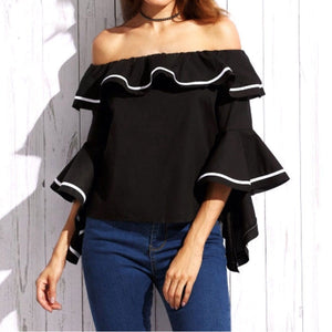 Sexy Slash Neck Off Shoulder Blouses