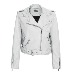 Simple suede faux leather jacket