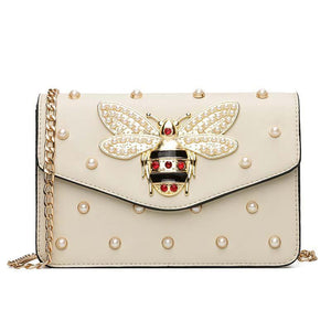 Rhinestones Bee Leather Shoulder Bags