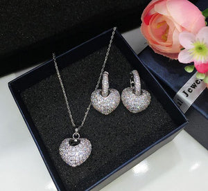 Luxury CZ Heart Jewelry Set