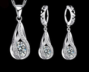 Water Drop CZ Necklace Set