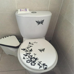 Butterfly Flower bathroom vinyl wall stickers - Liked Buy