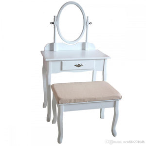 Wood Vanity Drawer & Mirror Dressing Table