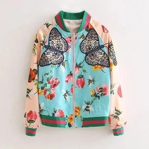 Flower butterfly printed coat