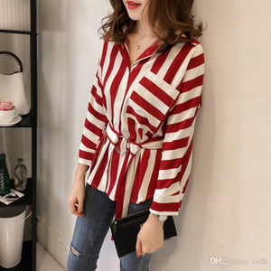 Striped Long Sleeve Loose Tops