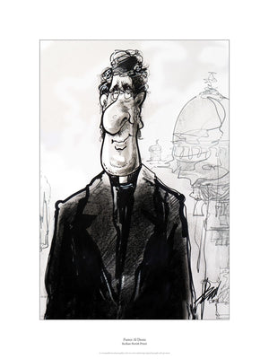 Cartoon of an italian priest in front of a church