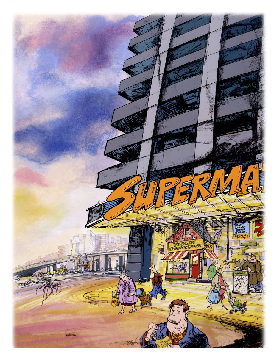 Full colour illustration of supermarket and closed corner shop in the background. Cartoon illustration