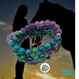 Chrysocolla and Amethyst Lotus Mala