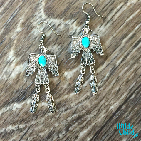 Turquoise Thunderbird Earrings