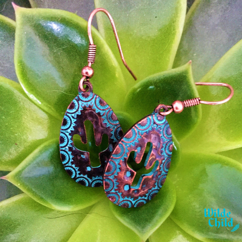 Vintage Patina Cactus Earrings