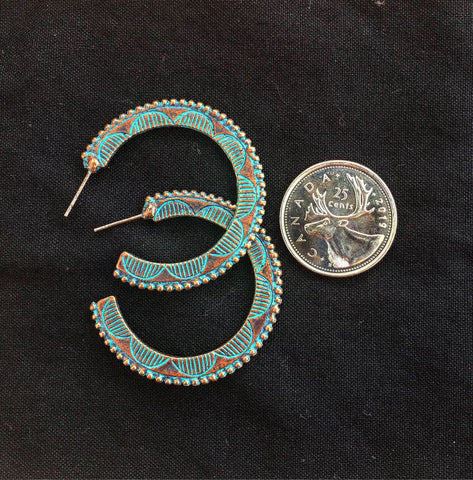 Vintage Patina Pendant Earrings