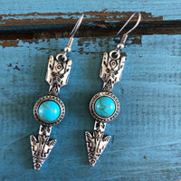 Turquoise and silver arrow earrings