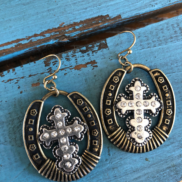 Lucky horse shoe cross drop earrings