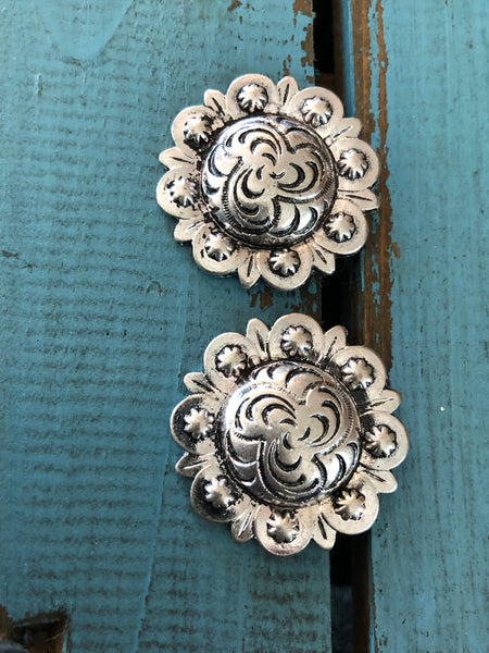Classic Silver Concho Earrings