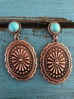 Copper concho earrings with turquoise stone