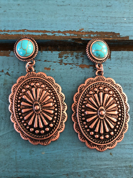 Copper concho earrings with turquoise