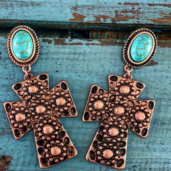 Copper cross earrings with turquoise stone