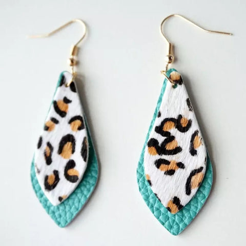 Leopard Print Genuine Leather Earrings