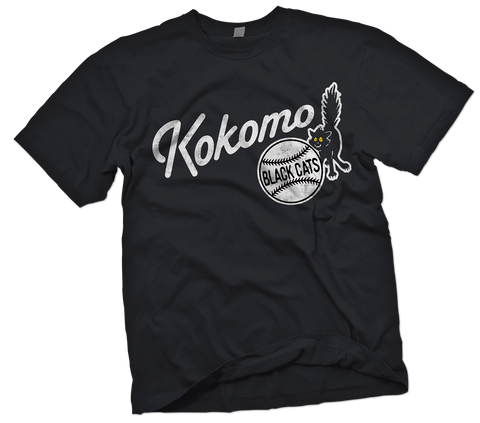 Kokomo Black Cats Hand-Painted T-Shirt - Negro League Baseball Shop
