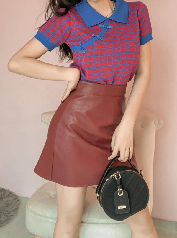 1052 Vintage Fit Leather Skirt