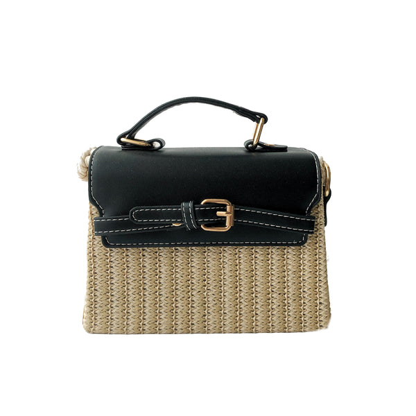B20 Summer Plaited Straw Bag in Black