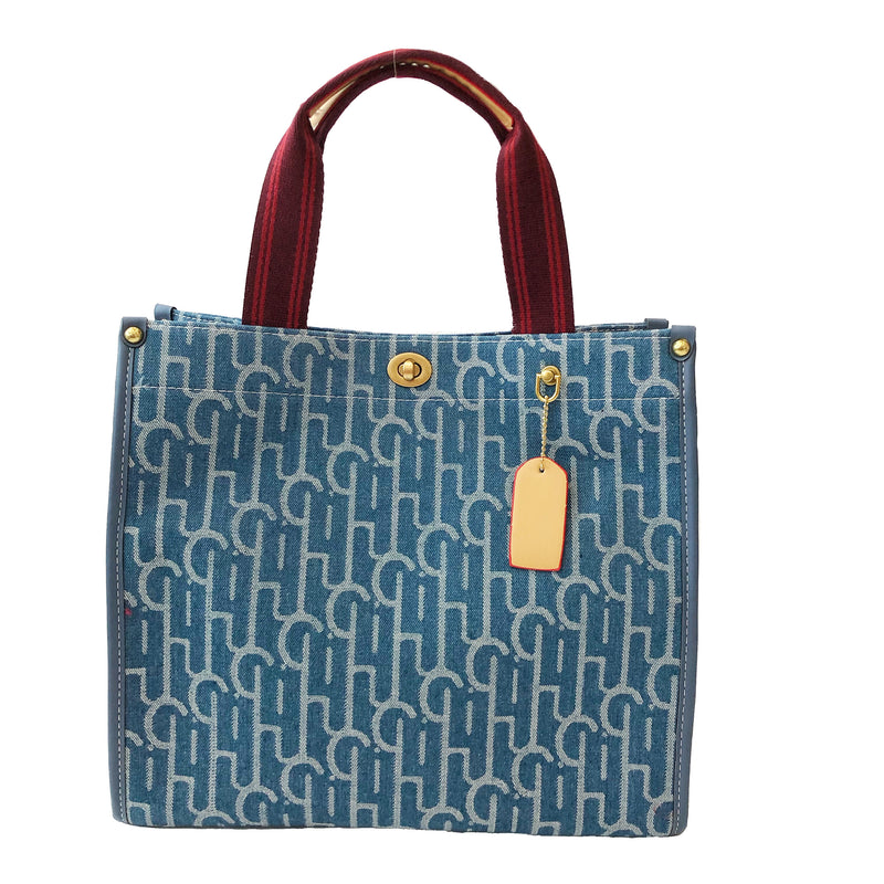 B14 Double Handle Tote Bag in Blue