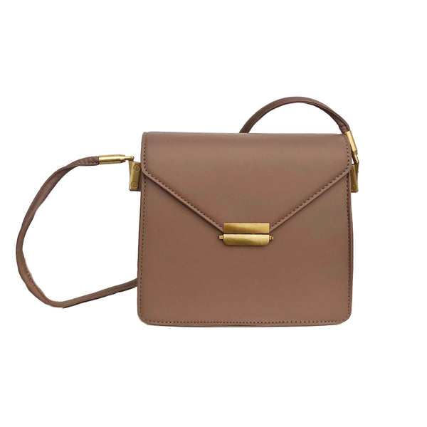 B19 Metallic Push-Lock Clutch in Brown