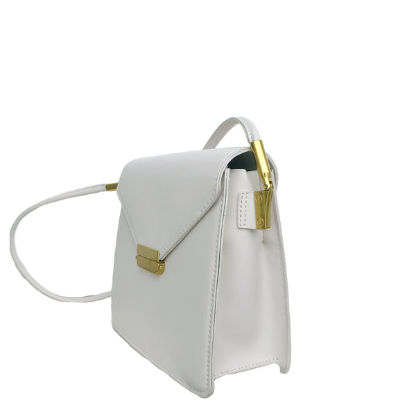 B19 Metallic Push-Lock Clutch in White