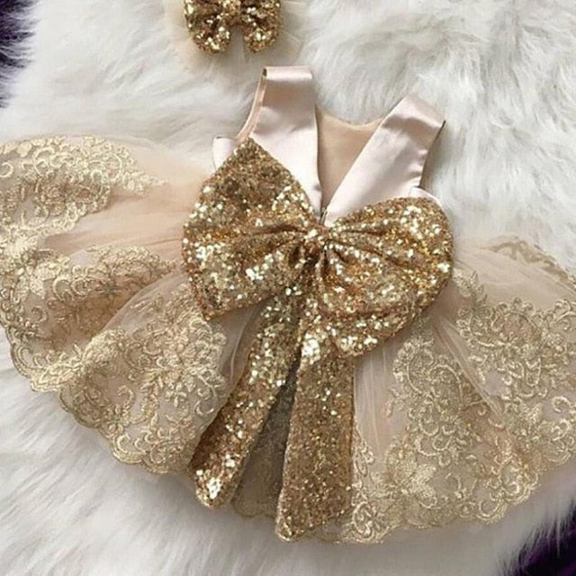 Girl Princess Dress Sleeveless Bow Sequins Dress