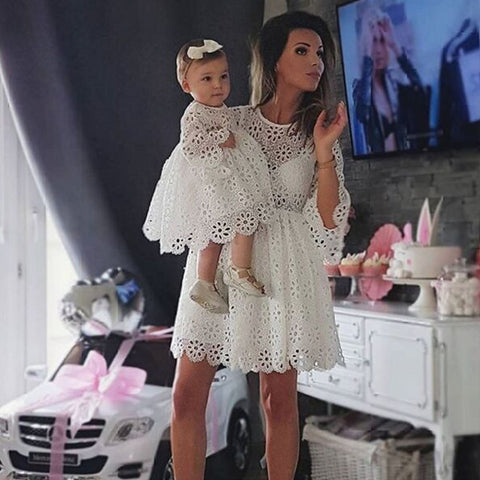 Family Matching White Hollow Lace 3/4 Sleeve Dress Mother and Daughter Party Dress