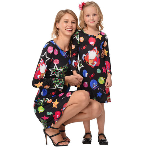 Mother Daughter Matching Long Sleeve Dress