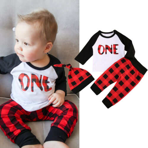Baby Boy 1st Birthday Long Sleeve T-Shirt, Pants, Hat 3pc Clothes Set