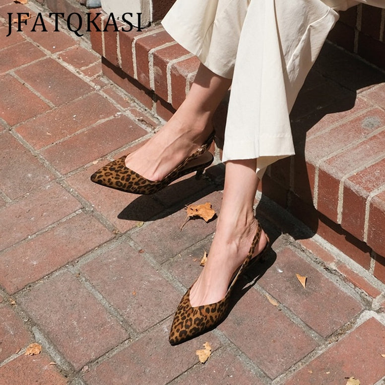 Women's Summer Style Leopard Print Pointed Pumps