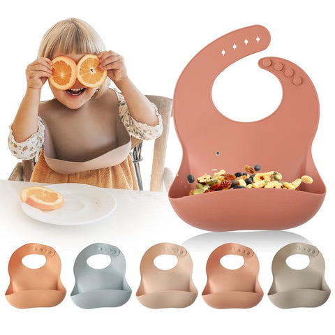 1pc Silicone Baby Feeding Waterproof Bib