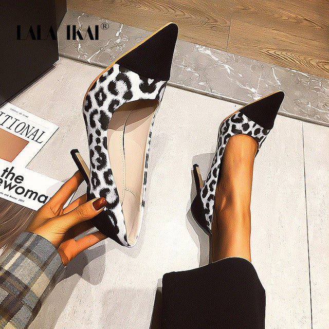 2020 Leopard Pattern Pointed Toe High Heels