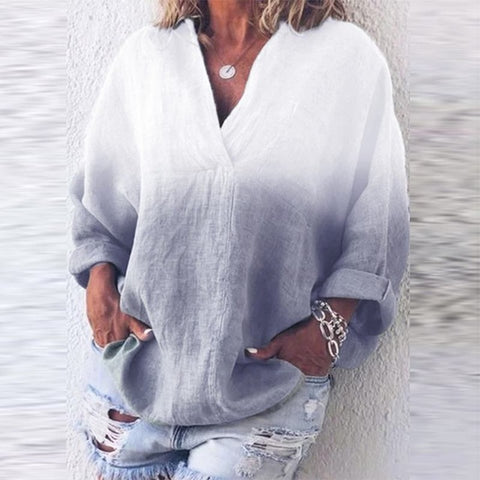 Women's Casual Dye V-Neck Long Sleeve Blouse