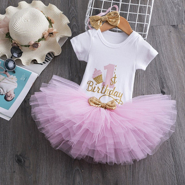 Baby Girl 1st Year Birthday Tutu Dress