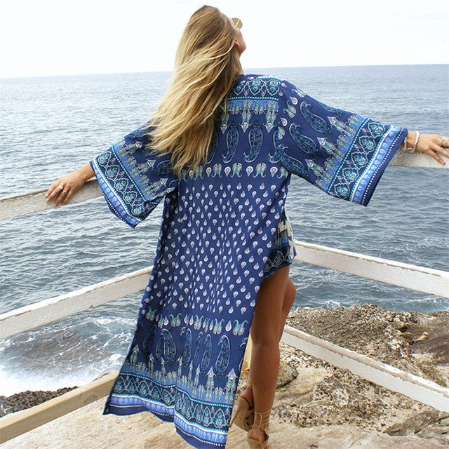 2020 Blue Bohemian Printed Long Sleeve Cotton Komono