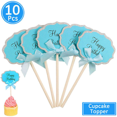 10pcs Happy Birthday Cupcake Toppers Birthday Party