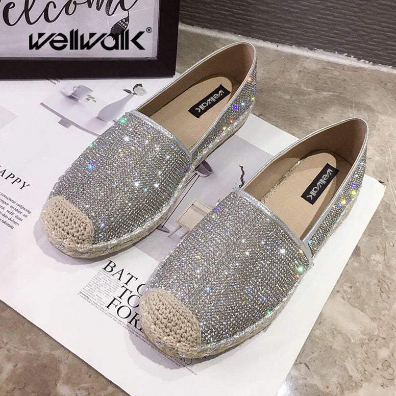 Glitter Espadrilles Flat Hemp Shoes
