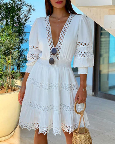 White Deep V Neck Lace Trim Dress