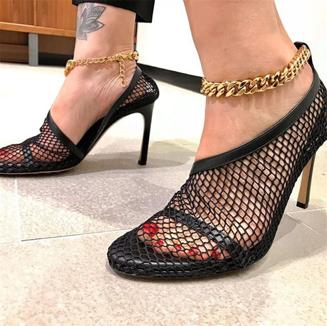 2020 Runway Mesh Women Pumps