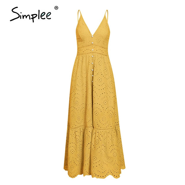 Simple Elegant V-neck Women's Dress