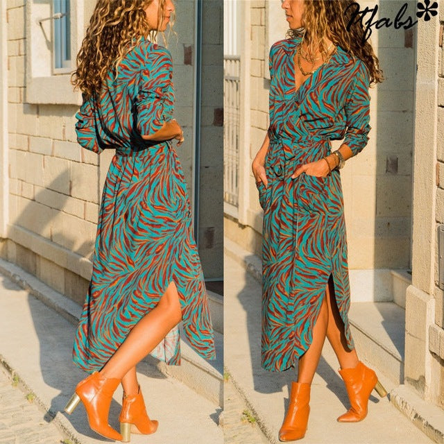 New Women Wrap V Neck Long Sleeve Shirt Dress