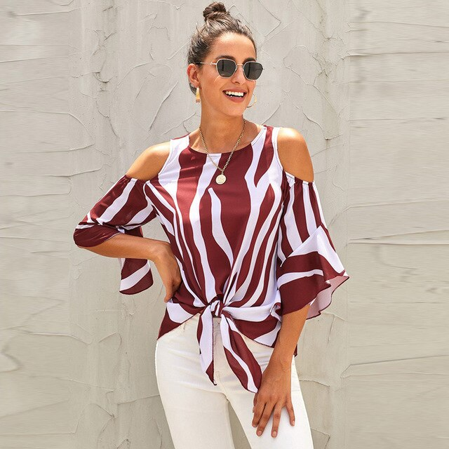 Summer New Striped Off Shoulder Blouse