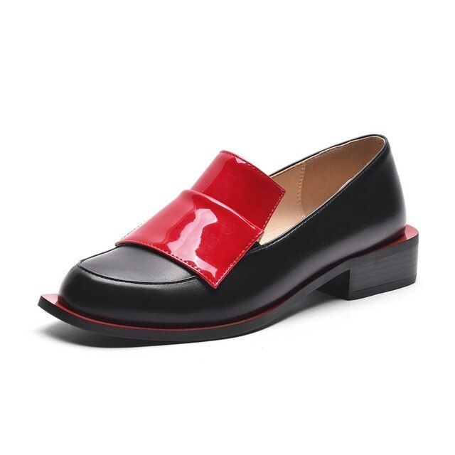 Women Genuine Round Toe Black Red Loafer