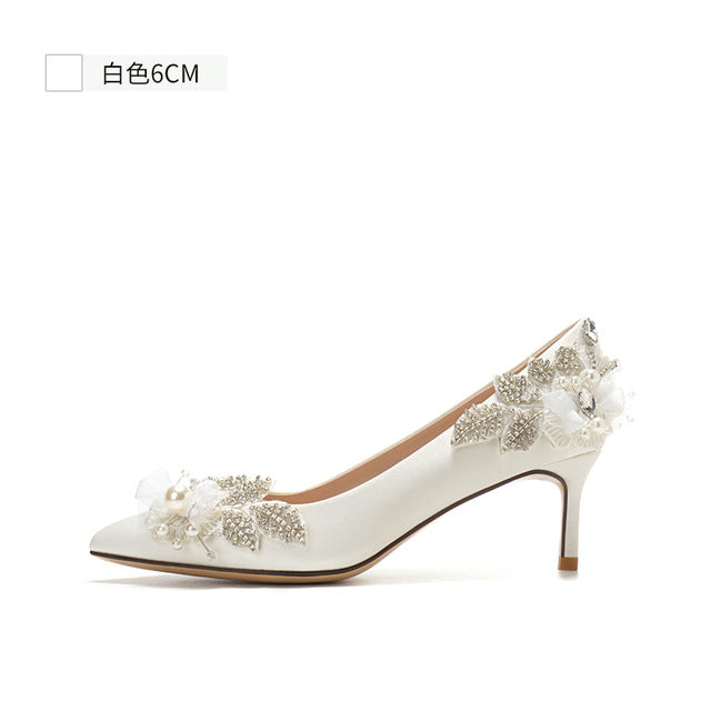 Wedding Shoes Pearl White High Heels