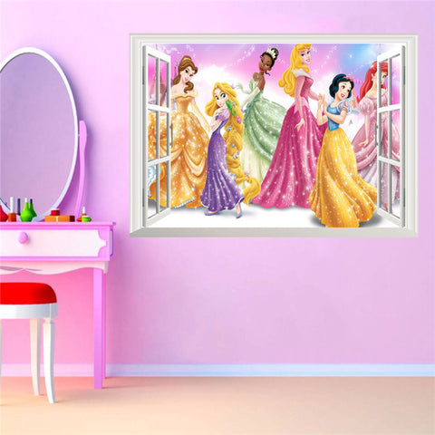 3D False Window Princess Wall Stickers for Kids Rooms Home Decoration
